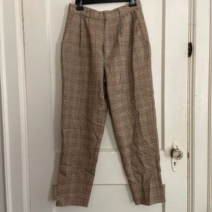 Vintage Soft Pleated Plaid High Waist Trousers